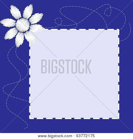 Blue Frame With Flower