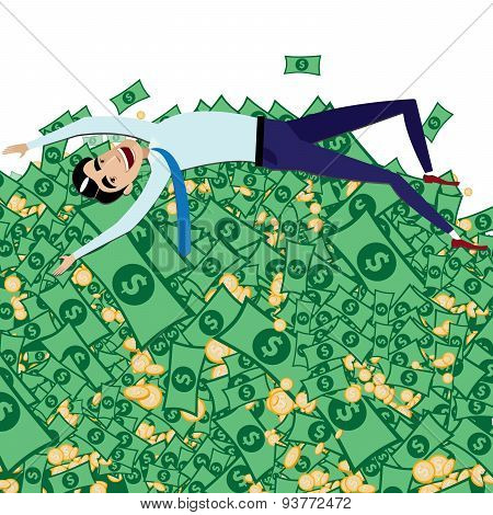 Happy Businessman Lying On Big Pile Of Money