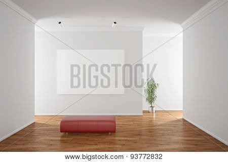 Empty white canvas hanging on a wall in a gallery (3D Rendering)