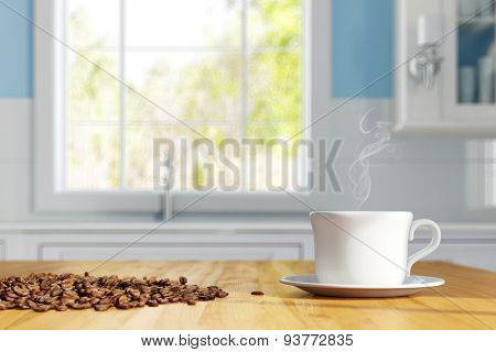 Cup of fresh coffee with coffee beans on a kitchen table (3D Rendering)