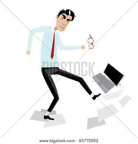 Angry businessman breaking laptop