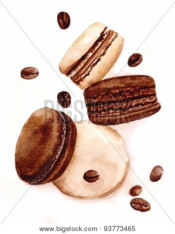 Cute coffee macaroons and beans. Top view.