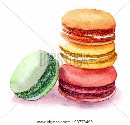 Cute colored macaroons. Watercolor food image.