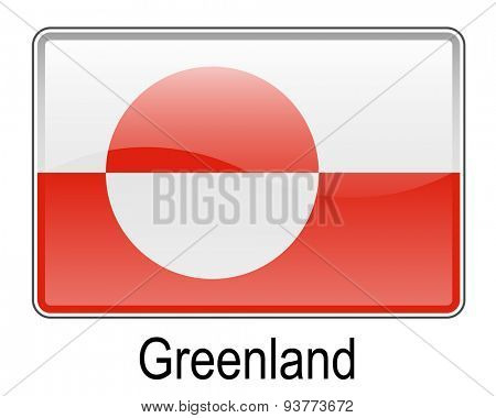 greenland official flag, button flag