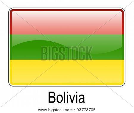 bolivia official flag, button flag