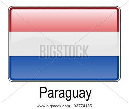 paraguay official flag, button flag