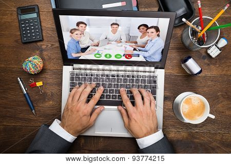 Businessman In Video Conference
