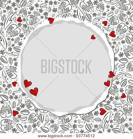 secret garden floral pattern with red hearts and round torn paper