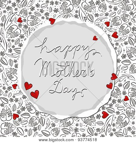 secret garden floral messy Mother's Day card with hearts on white