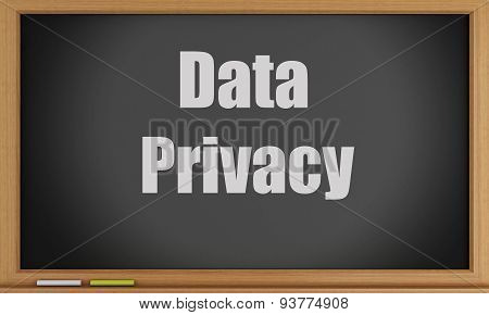 3D Data Privacy Text On Blackboard.
