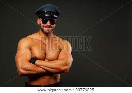 Muscular policeman