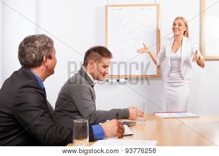 Young Businesswoman Presenting His Ideas