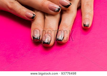 Beautiful manicure nails. Beautiful female hands with nails painted nails.