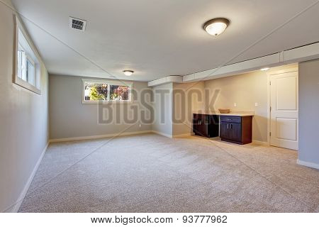 New Living Room With  Carpet And Fire Place.