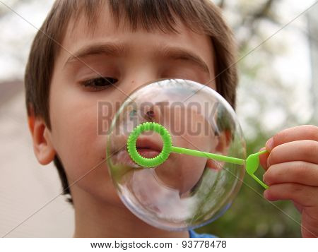 Little Boy Blowing Bubbles