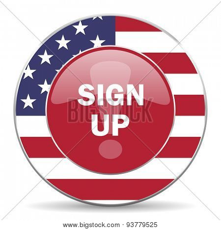 sign up american icon original modern design for web and mobile app on white background
