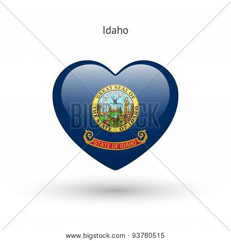Love Idaho state symbol. Heart flag icon.