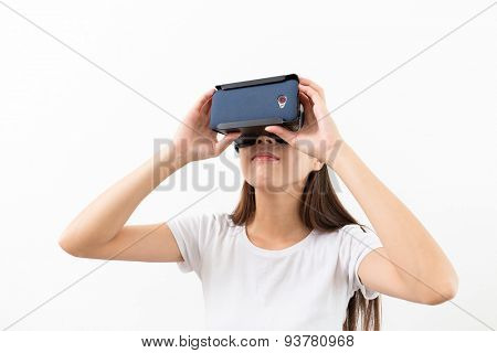 Woman looking though the VR device