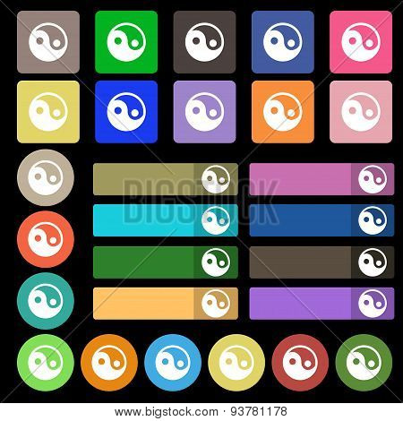 Ying Yang  Icon Sign. Set From Twenty Seven Multicolored Flat Buttons. Vector