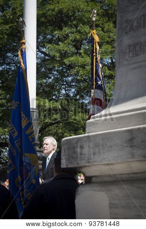 NEW YORK - MAY 25 2015: Secretary of the Navy (SECNAV) Ray Mabus speaking at the annual Memorial Day Observance service held at the Soldiers and Sailors Monument in Manhattan during Fleet Week 2015.