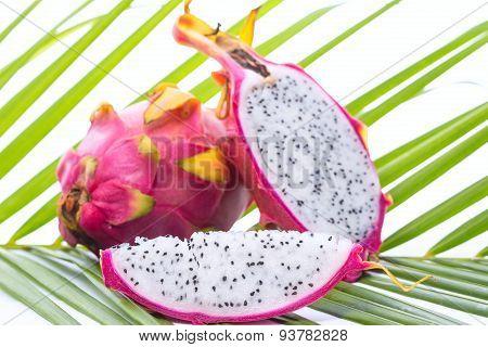 Dragon Fruit On Palm Leaf