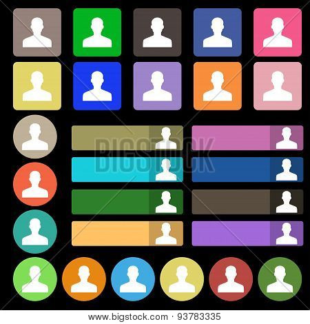 User, Person, Log In  Icon Sign. Set From Twenty Seven Multicolored Flat Buttons. Vector