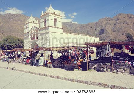 Old Church By The Market Square In Colca Canyon.