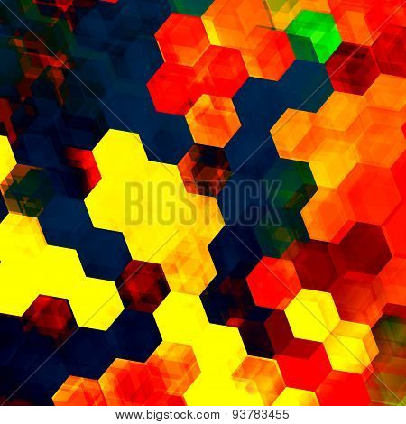 Colorful hexagon background. Abstract artistic design internet illustration. Changing pattern.