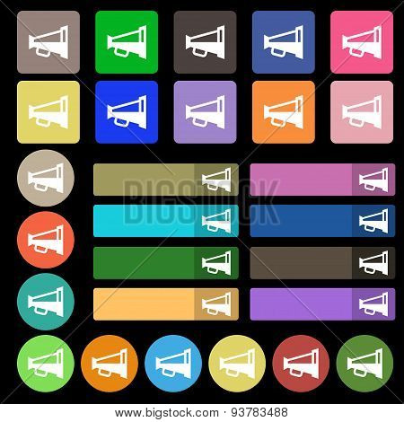 Megaphone Soon, Loudspeaker  Icon Sign. Set From Twenty Seven Multicolored Flat Buttons. Vector