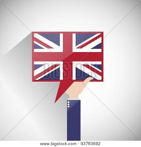 UK English Flag Speech Bubble