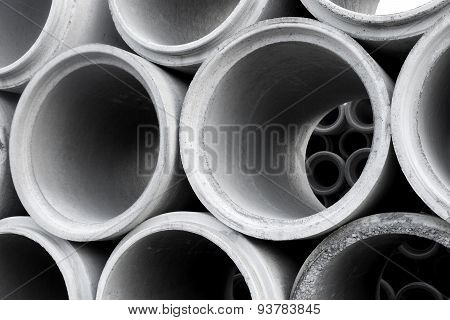 Pile Of Concrete Pipes