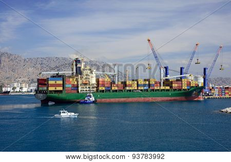 Antalya, Turkey, June 5, 2015. Container ship in Port Akdeniz, Antalya