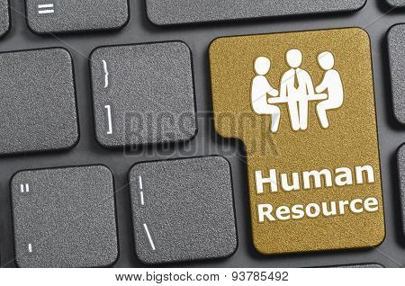 Brown human resource key on keyboard