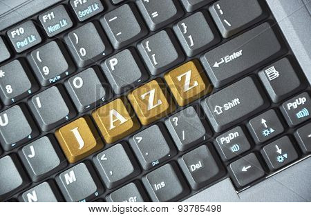 Brown jazz key on keyboard