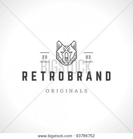 Wolf face logo line art emblem template mascot symbol for business or shirt design. Vector Vintage Design Element.
