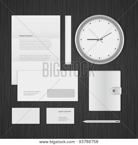 White Logotype presentation corporate identity template Mock up design elements. Vector Business stationery objects
