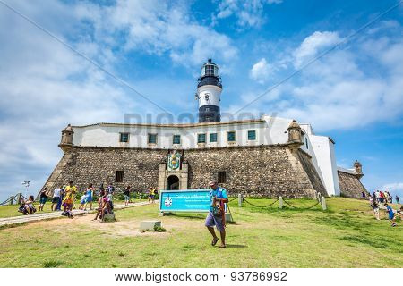 BAHIA, BRAZIL - CIRCA NOVEMBER 2014: Barra Lighthouse (Farol da Barra) in Salvador, Brazil.