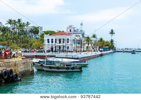SALVADOR, BRAZIL - CIRCA NOV 2014: Harbour view of Salvador, Bahia, Brazil