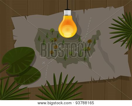 map jungle bulb night america dark