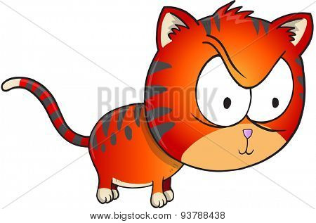 Angry orange Cat Illustration Art isolated on white background