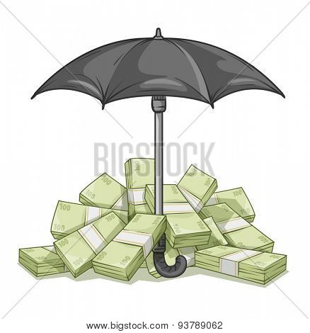 Umbrella protecting bundles with money. Eps10 vector illustration. Isolated on white background