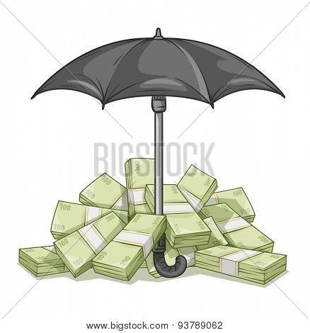Umbrella protecting bundles with money. Eps10 vector illustration. Isolated on white background