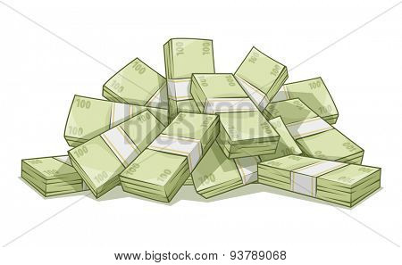 Hill of bundles with money. Eps10 vector illustration. Isolated on white background