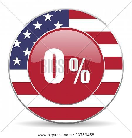 0 percent original american design modern icon for web and mobile app on white background