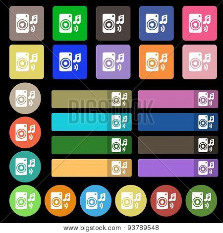 Music Column, Disco, Music, Melody, Speaker Icon Sign. Set From Twenty Seven Multicolored Flat Butto