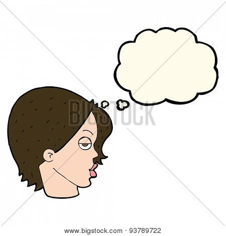 cartoon woman raising eyebrow with thought bubble