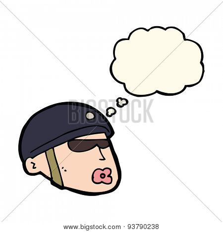 cartoon policeman head with thought bubble