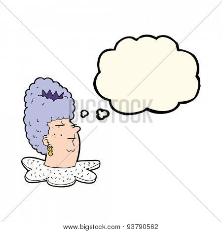 cartoon queen's head with thought bubble
