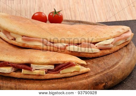 Ham and cheese foccacia sandwich.