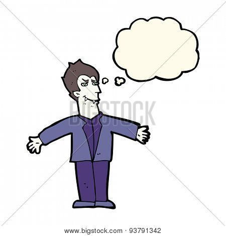 cartoon vampire man with open arms with thought bubble